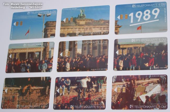 Brandenburger Tor-Telefonkarten ausgebreitet (Vorderseite)