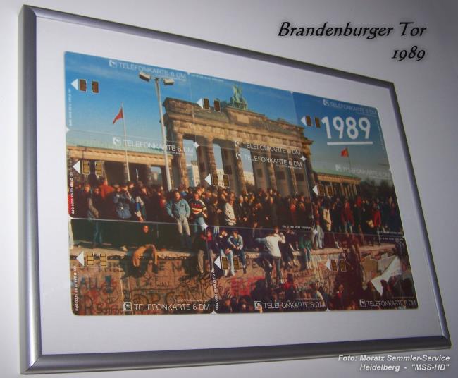 Telefonkarten-Puzzle Brandenburger Tor 1989, gerahmt
