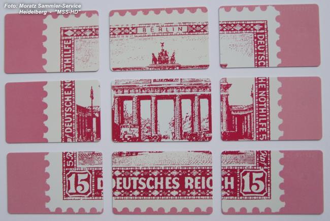 Brandenburger Tor-Telefonkarten ausgebreitet (Rückseite)